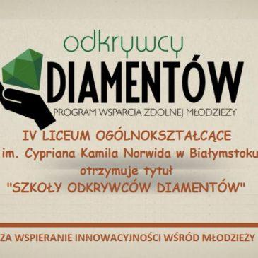 IV LO – Szkołą Odkrywców Diamentów